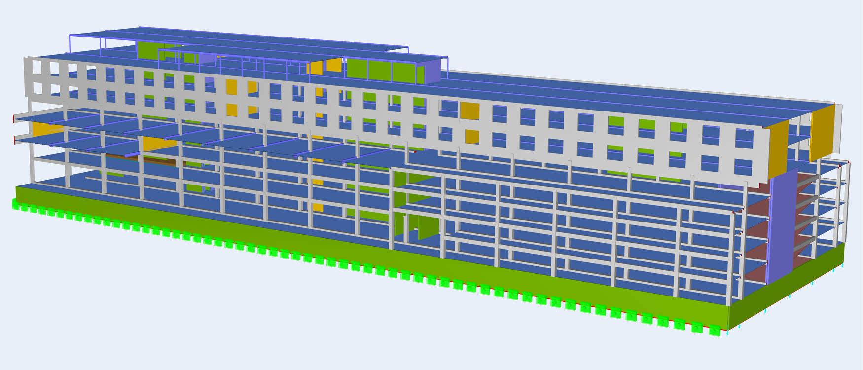 rekenmodel van betonconstructie hotel in RFEM