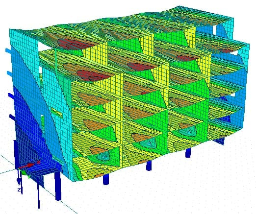 Betonnen appartementengebouw berekend met de 3D rekensoftware RFEM